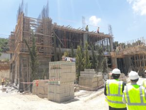 Construction of guest house in Jordan, Director of works visiting site